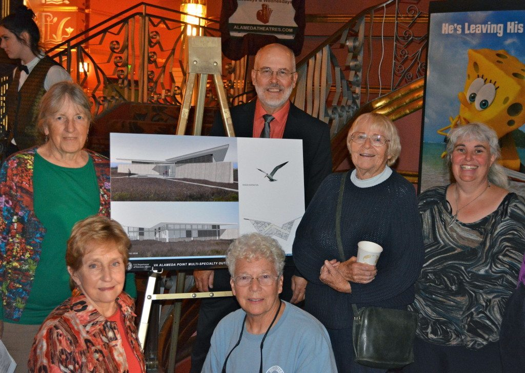 GGAS members Linda Vallee, Chris Bard, Leora Feeney, Richard Bangert, and Carol Baxter, and GGAS Executive Director Cindy Margulis, with artist rendering of VA's Conservation Management Office.