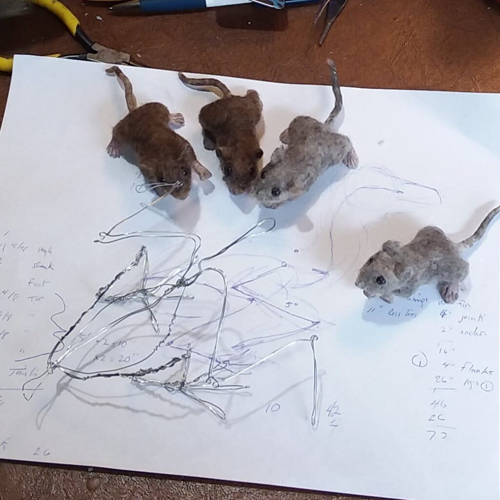 Felt mice with wire for Osprey sculpture