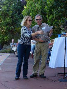 Noreen Weeden and Eddie Bartley present the birding awards. Photo by Lee Karney.