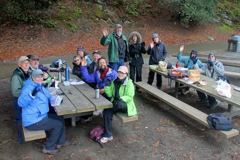 Claremont team stops for lunch at Lake Temescal, by Ilana DeBare