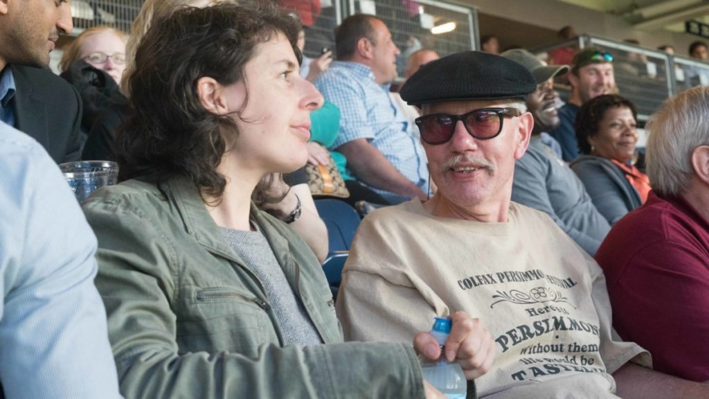 Keith Harward attends a Yankees game in May 2016 with Olga Akselrod, Senior Staff Attorney at the Innocence Project. Photo by Sameer Abdel-Khaled.