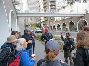 Urban birding in downtown SF - the Telegraph Hill team led by Carlo Arreglo gets ready to count.