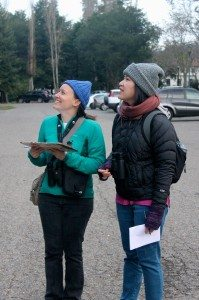 Susanna Kwan (right) and a friend on the Mills College count team / Photo by Ilana DeBare