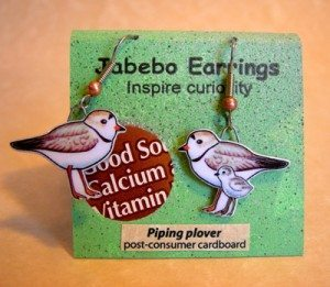 Plover earrings made from recycled cereal boxes by Jabebo Designs