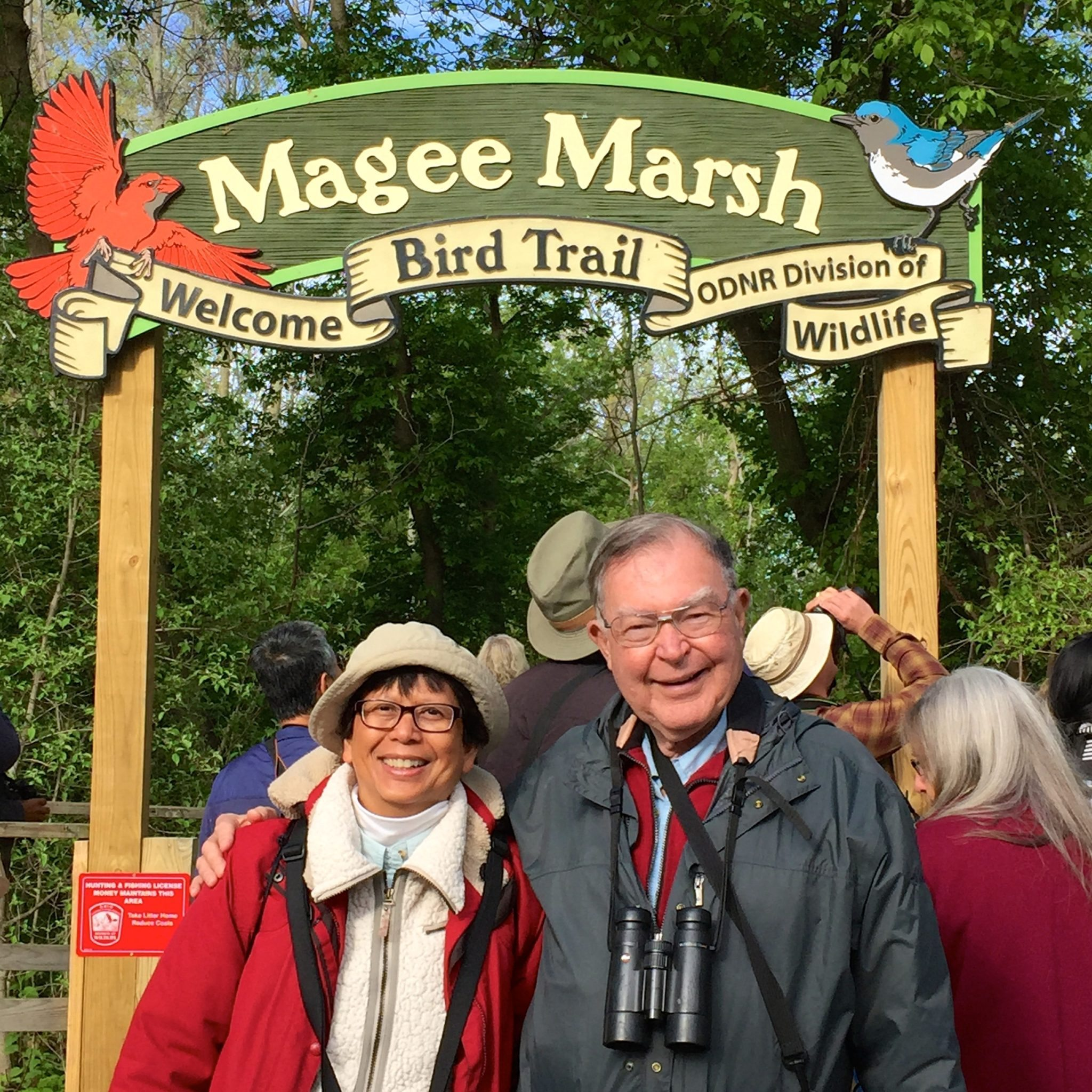 Lani Rumbaoa and George Peyton at Magee Marsh during Lani's Big Year