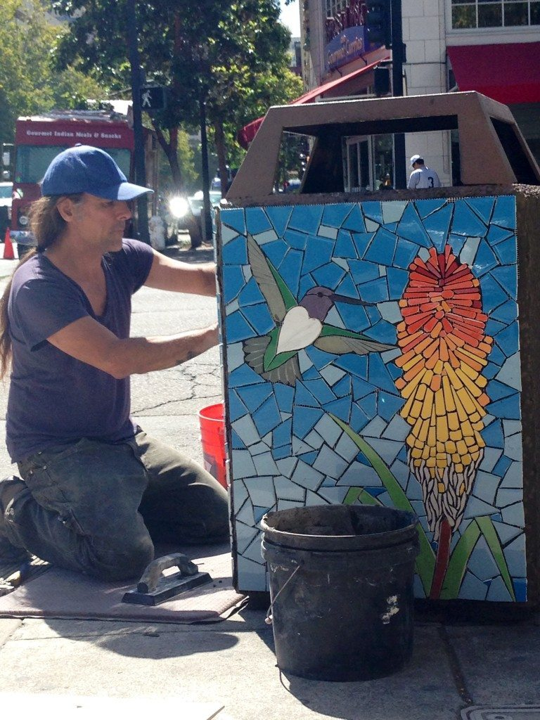 Artist Juan Lopez at work / Photo by Old Oakland Neighbors