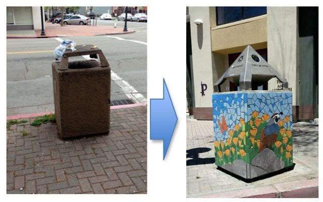 Before and after view of California Quail trash can / Photo by Old Oakland Neighbors