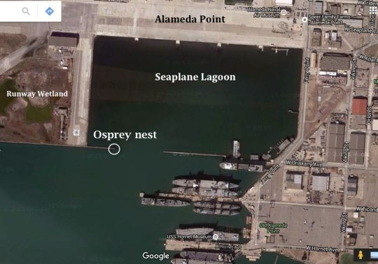 Aerial view of Seaplane Lagoon at Alameda Point